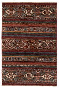 Shabargan Alfombra 85X123 Moderna Hecha A Mano Negro/Marrón Oscuro (Lana, Afganistán)
