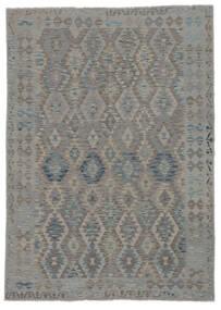 Kilim Afghan Old Style Alfombra 206X292 Oriental Tejida A Mano Gris Oscuro/Negro (Lana, Afganistán)