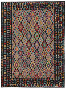 Kilim Afghan Old Style Alfombra 259X355 Oriental Tejida A Mano Negro/Marrón Oscuro Grande (Lana, Afganistán)